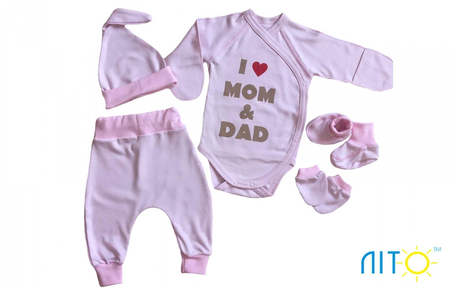 Набір рожевий - Я люблю маму і тата Код od-20898 935b2b75e40e4