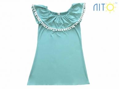 Платье- Волан ментоловое