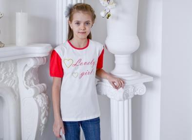 Футболка - Милая девочка, корал