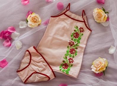 Комплект білизни бордові троянди