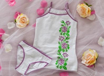 Комплект білизни фіолетові троянди