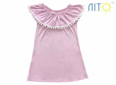 Платье -Волан  розовое
