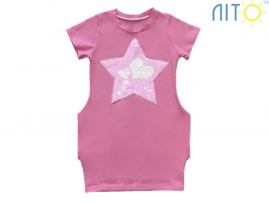 Платье розовое _Звезда