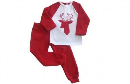 Пижама флисовая - Олень красная