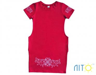 Платье-Красное с вышивкой