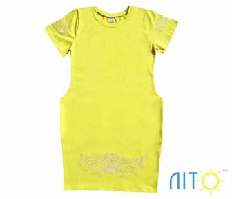 Платье- Желтое с вышивкой