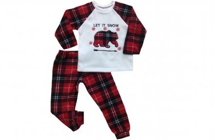 Пижама флисовая - Медведь красная