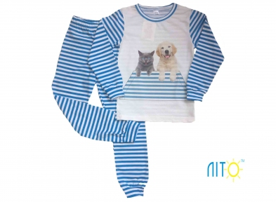 Пижама в полоску - Котик и собачка