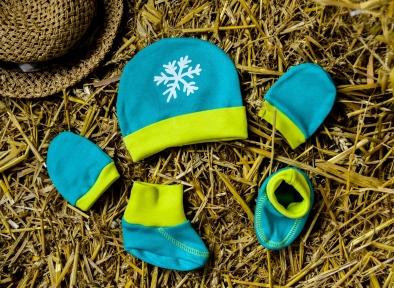 Шапочка, пінетки та царапки - Сніжинка, ментолово-лимонні