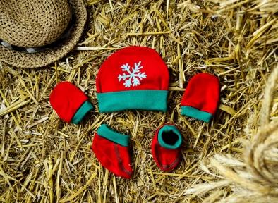 Шапочка, пінетки та царапки - Сніжинка, ментолова