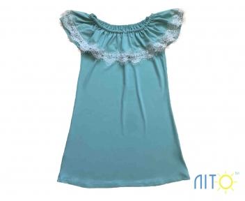 Сукня -Ментолова з кружевом