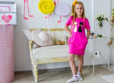 Платье малиновое - Кошки
