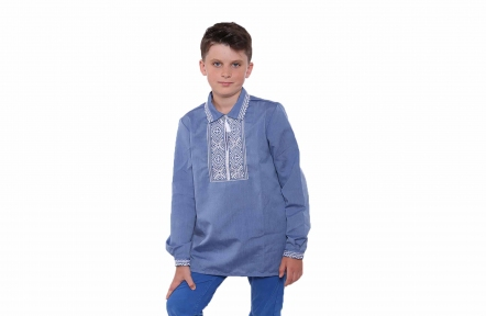 Рубашка вышитая - Джинсовая