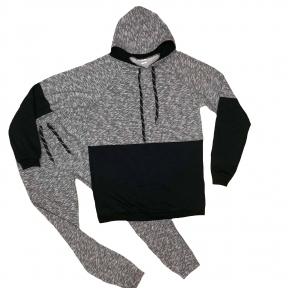 Спортивний костюм - Сіро - чорний з худі