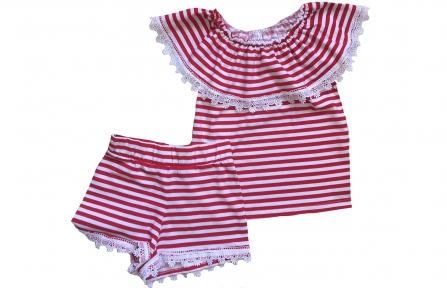 Комплект з шортами - Червона полоска