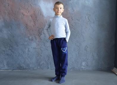 Спортивні штани утеплені, темносині з синім