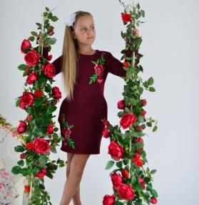 Сукня -Троянди бордова