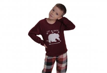Пижама флисовая - Медведь  бордовая