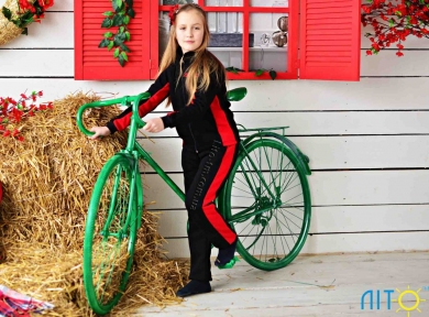 Спортивний костюм  з начосом- Червоно-чорний