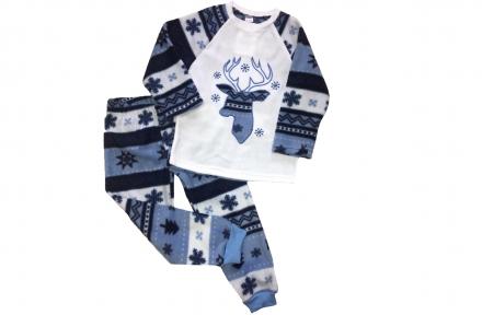 Пижама флисовая - Олень синяя