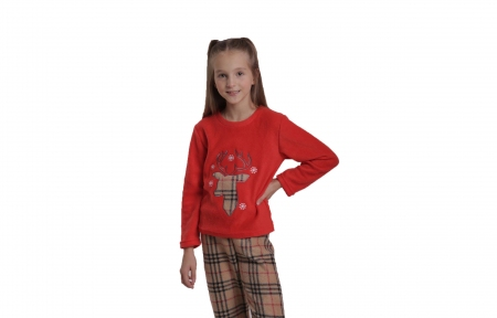 Пижама флисовая - Олень клетка