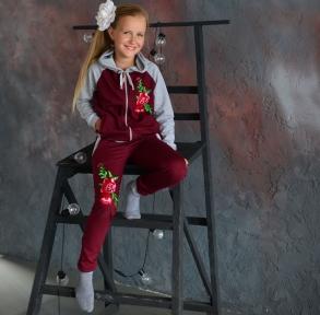 Спортивний костюм Троянди  бордовий  з сірим
