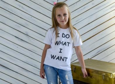 Футболка біла для дівчинки - Я роблю те, що хочу
