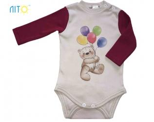 Бодік - Ведмедик з кульками бордовий рукав cdfbd5ce74ede